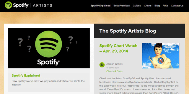 Spotify for Artistsという公式サイト